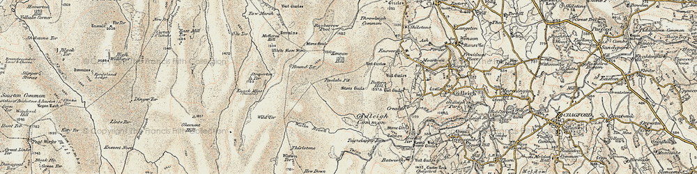 Old map of White Moor Stone in 1899-1900