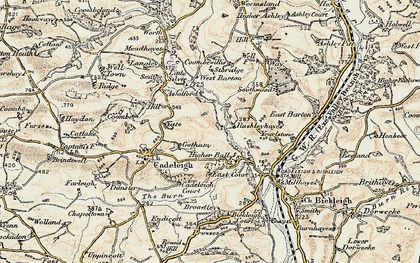 Old map of River Dart in 1898-1900