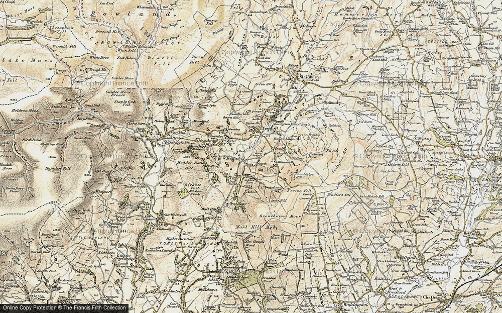 Old Map of Historic Map covering Ashnott in 1903-1904