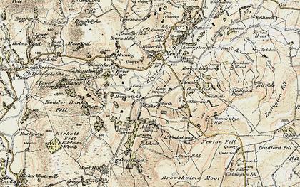 Old map of River Hodder in 1903-1904
