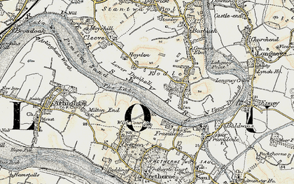 Old map of River Severn in 1898-1900
