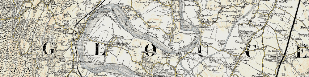 Old map of Wick Court in 1898-1900