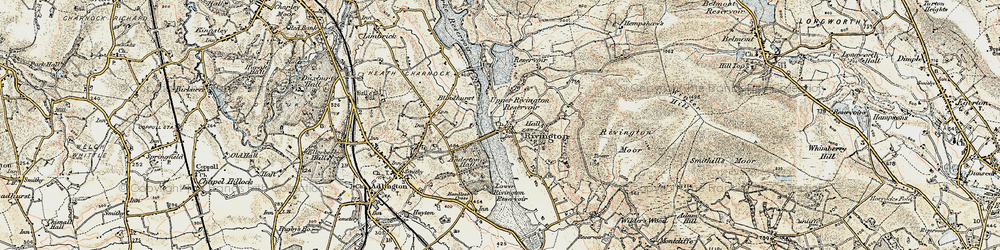 Old map of Lead Mines Clough in 1903