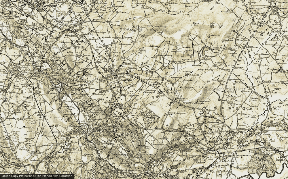 Old Map of Historic Map covering Leemuir in 1904-1905