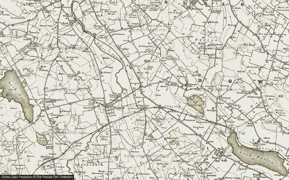 Old Map of Historic Map covering Achingills in 1911-1912