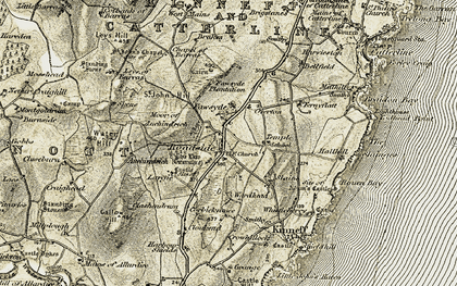 Old map of Leys of Barras in 1908-1909