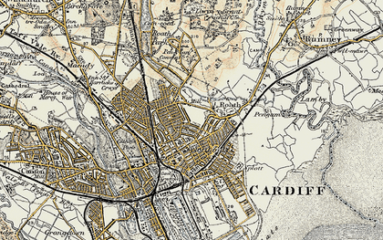 Old map of Roath in 1899-1900