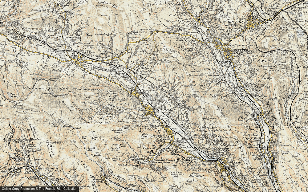 Old Map of Historic Map covering Abernant in 1899-1900