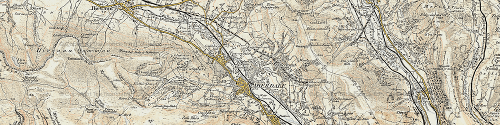 Old map of Abernant in 1899-1900