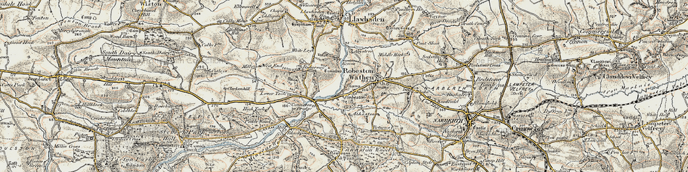 Old map of Abystree in 1901-1912