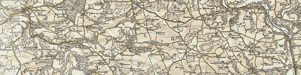 Old map of Whitsley Barton in 1899-1900