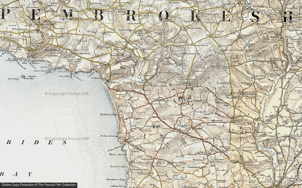 Old Map of Historic Map covering Woodhawk in 0-1912