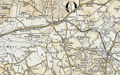 Old map of Roche in 1900