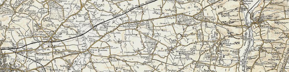 Old map of Rockbeare in 1898-1900