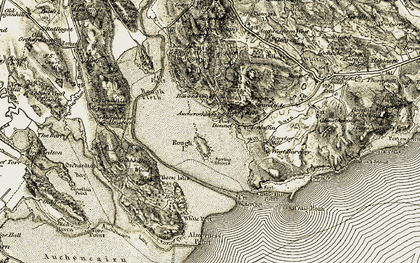 Old map of Almorness Point in 1904-1905