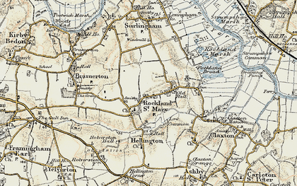 Old map of Rockland St Mary in 1901-1902
