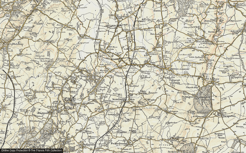 Old Map of Historic Map covering Westerleigh Common in 1899
