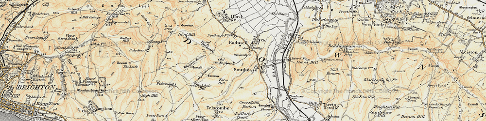 Old map of Rodmell in 1898