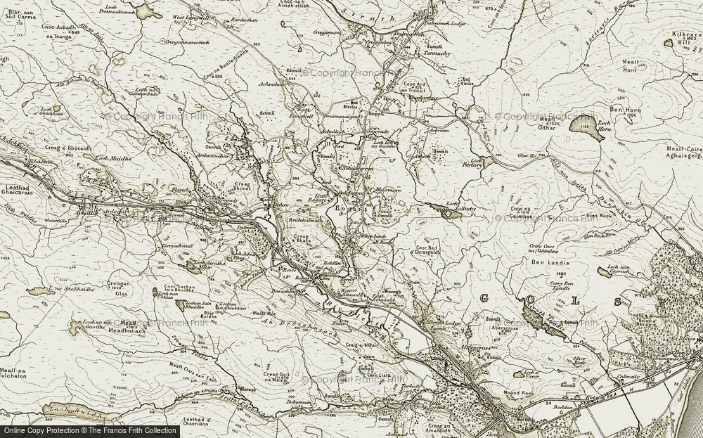 Old Map of Historic Map covering Achnagarron in 1910-1912