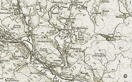 Old map of Achnagarron in 1910-1912