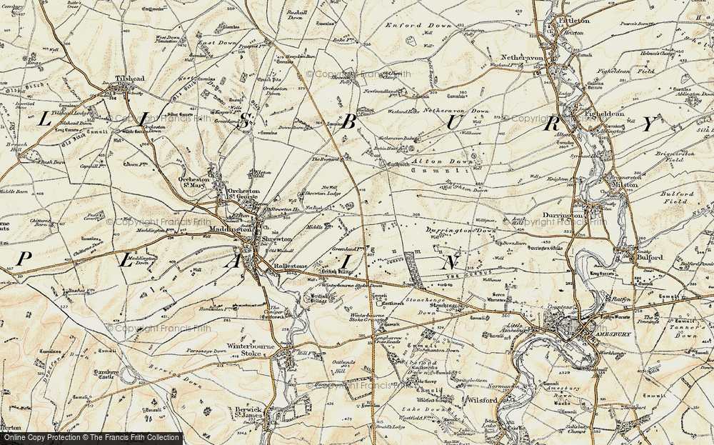 Old Map of Historic Map covering Airman's Corner in 1897-1899