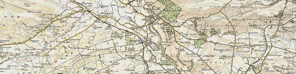 Old map of Romaldkirk in 1903-1904