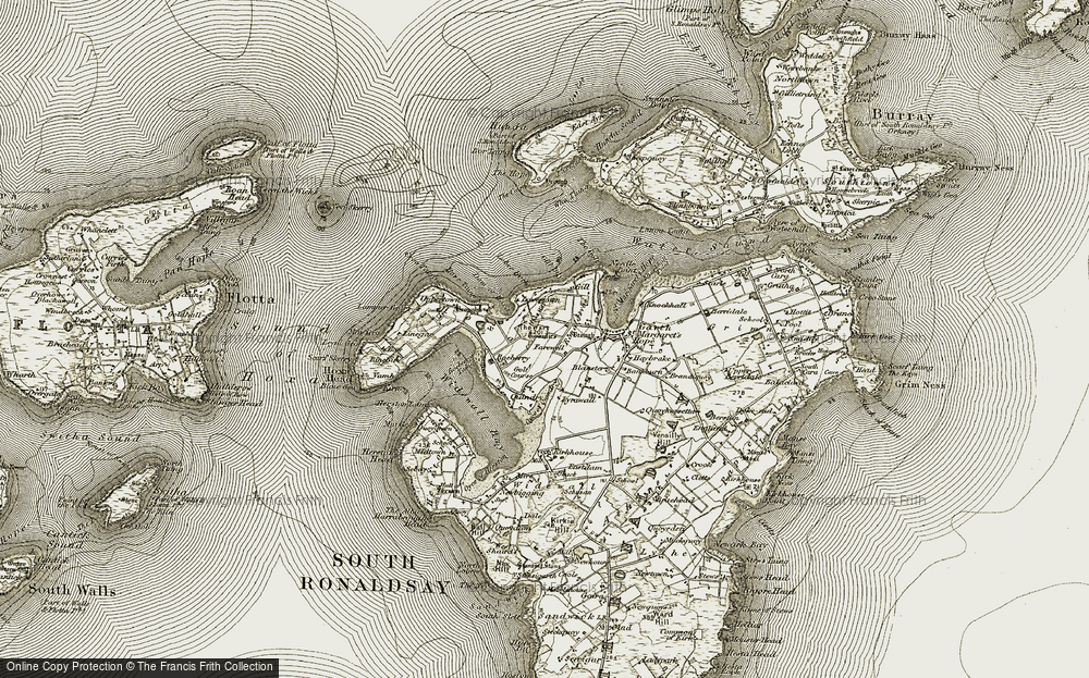 Old Map of Historic Map covering Leyni Geo in 1911-1912