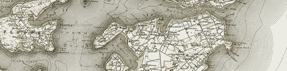 Old map of Widewall Bay in 1911-1912
