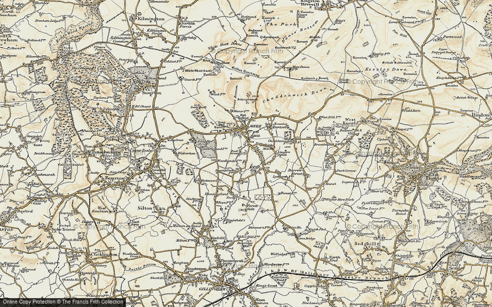 Old Map of Historic Map covering Woodlands Manor in 1897-1899
