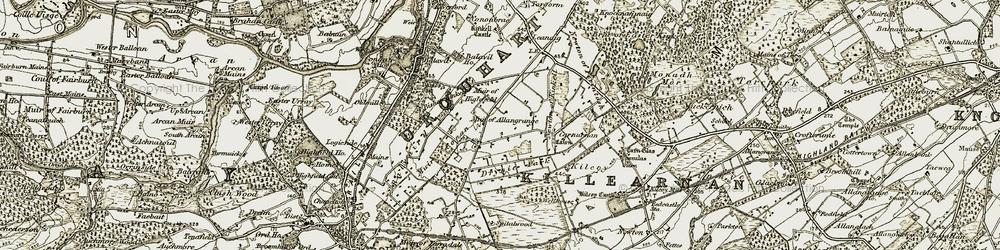 Old map of Allangrange Park in 1911-1912