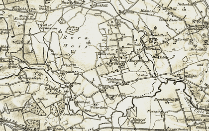 Old map of Wester Rora in 1909-1910