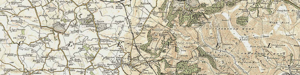 Old map of Roseberry Topping in 1903-1904