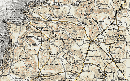 Old map of Rosecare in 1900