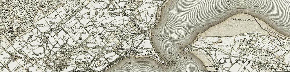 Old map of Rosemarkie in 1911-1912