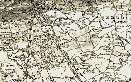Old map of West Myreriggs in 1907-1908
