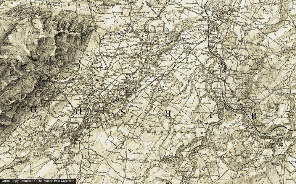 Old Map of Historic Map covering whitehill ho in 1903-1904