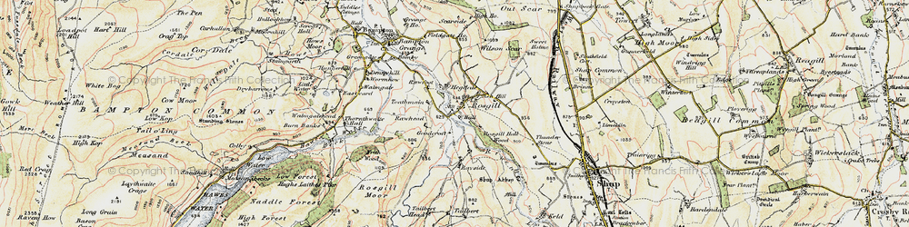 Old map of Langhowe Pike in 1901-1904