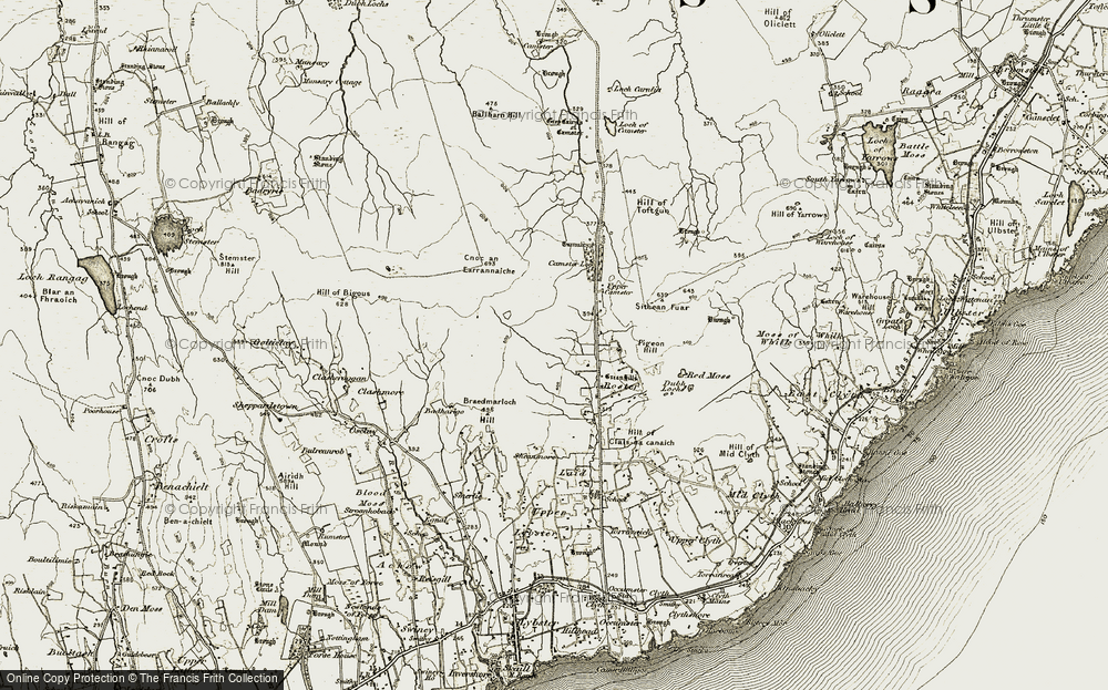 Old Map of Historic Map covering Badharigo in 1911-1912