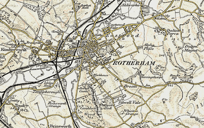 Old map of Rotherham in 1903