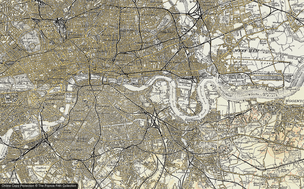 Old Map of Historic Map covering Limehouse Reach in 1897-1902