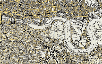 Old map of Limehouse Reach in 1897-1902