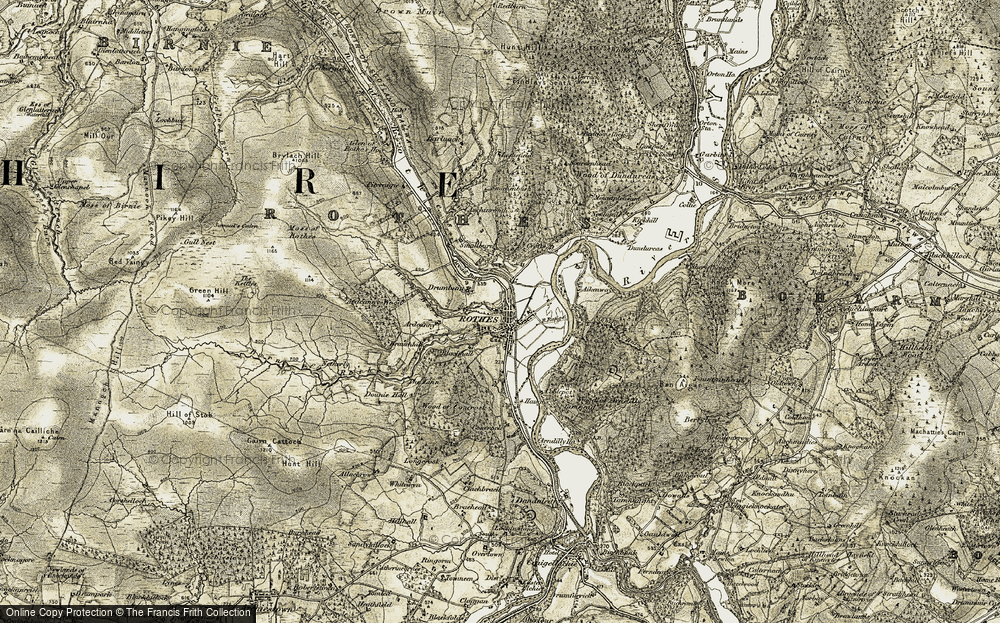 Old Map of Historic Map covering Wood of Dundurcas in 1910-1911