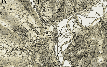 Old map of Rothes in 1910-1911