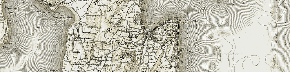 Old map of Rothesay in 1905-1907