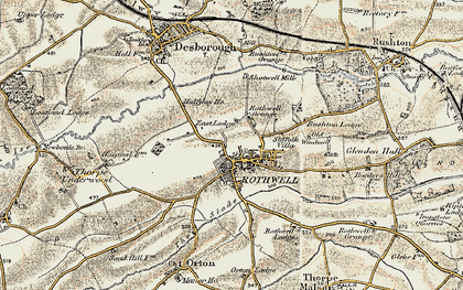 Old map of Rothwell in 1901-1902
