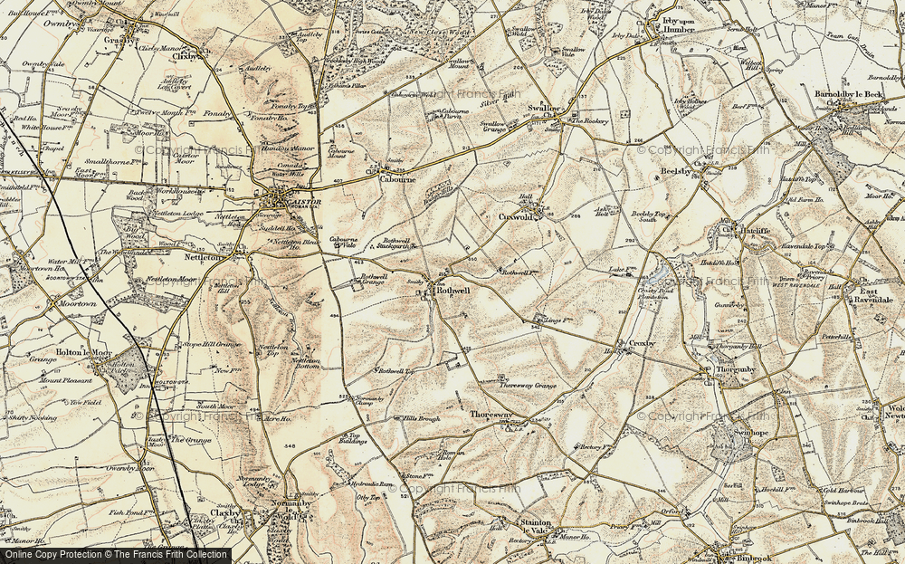 Old Map of Historic Map covering Badger Hills in 1903-1908