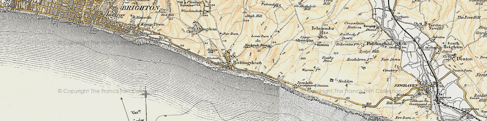 Old map of Rottingdean in 1898
