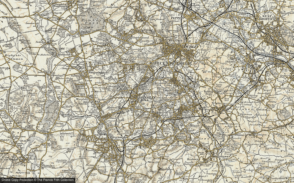 Old Map of Round Oak, 1902 in 1902