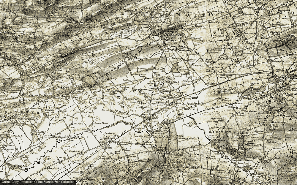 Old Map of Historic Map covering Leys of Cossans in 1907-1908