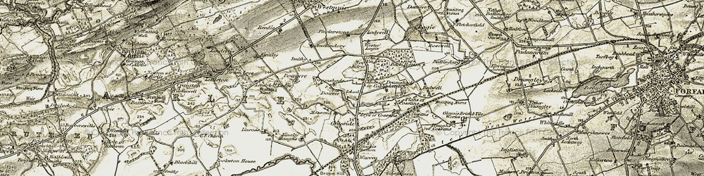 Old map of Leys of Cossans in 1907-1908